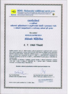 certifikát RIZIKA